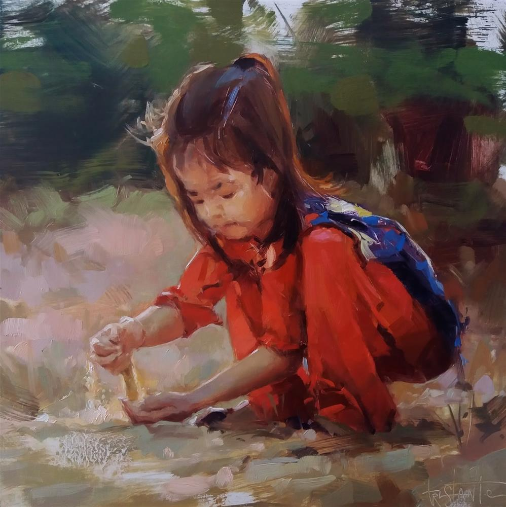 """""""Playing with the sand"""" original fine art by Víctor Tristante"""