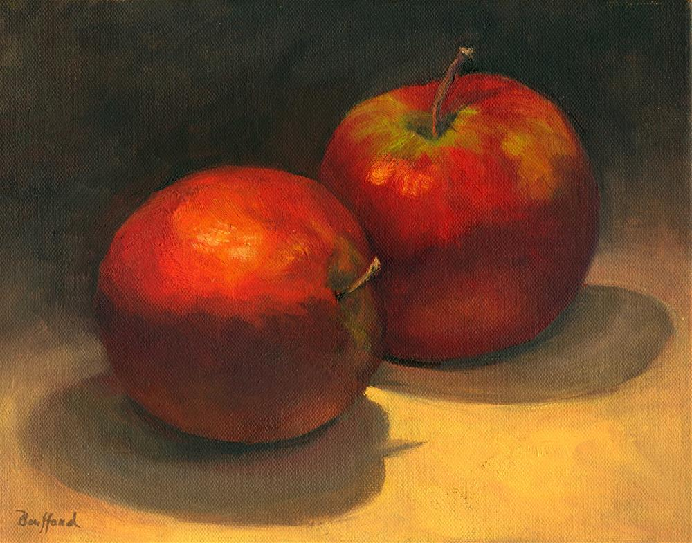 """Two Red Apples"" original fine art by Vikki Bouffard"