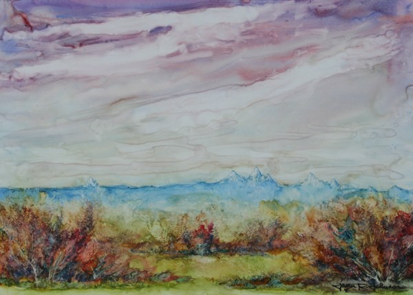 """The Cascades Under An Opal Sky"" original fine art by Jana Johnson"