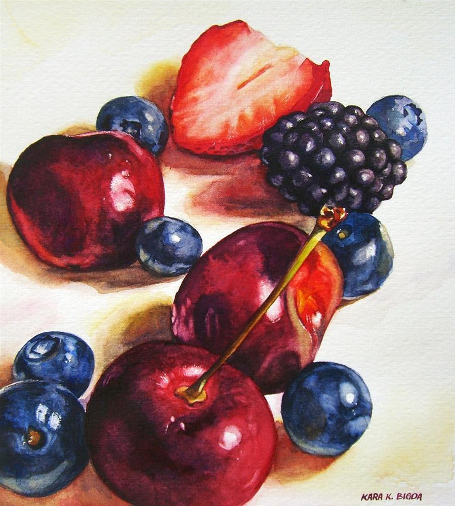 """""""Berries and Cherries II"""" original fine art by Kara K. Bigda"""