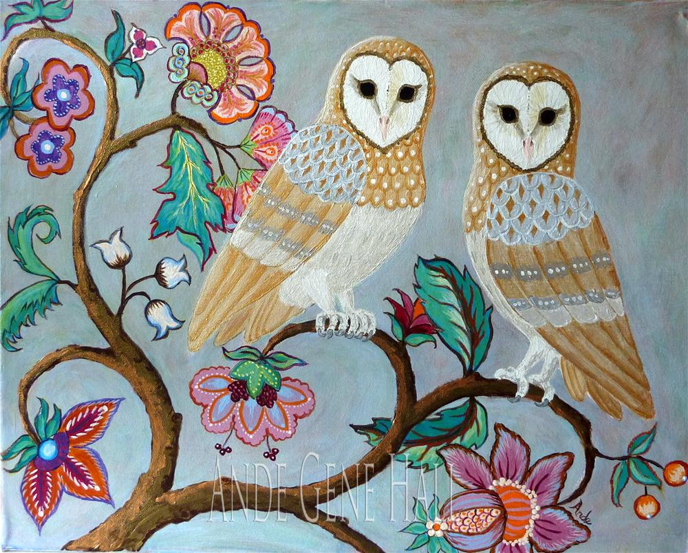 """Golden Barnowls"" original fine art by Ande Hall"