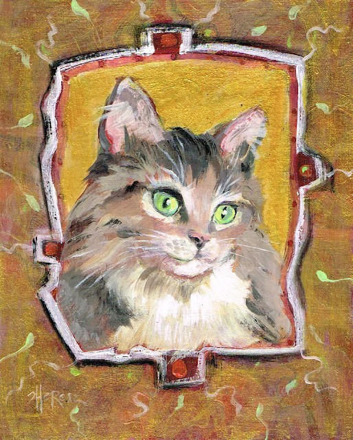 """Meow"" original fine art by Theresa Taylor Bayer"