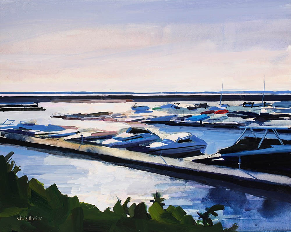 """Sunset at Buffalo Harbor"" original fine art by Chris Breier"