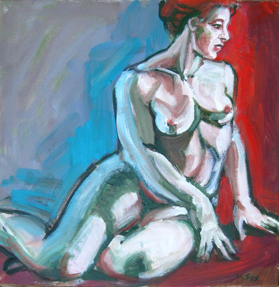 """Figurative Nude Seated Woman, Figuration by contemporary artist Marie Fox"" original fine art by Marie Fox"