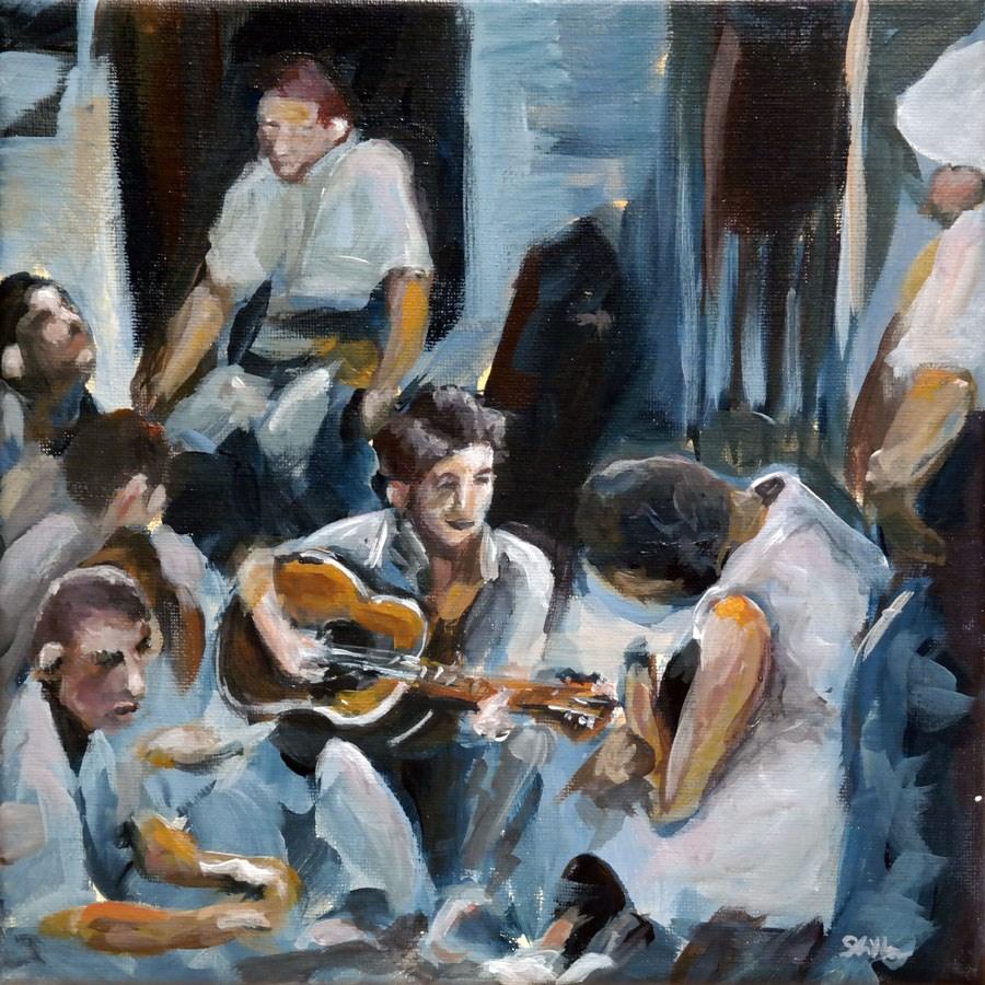 """1272 Folk Singer"" original fine art by Dietmar Stiller"