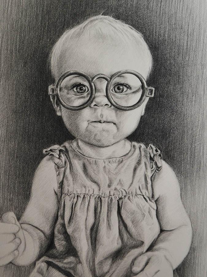 """""""Miss Smarty Pants"""" original fine art by April Dawes"""