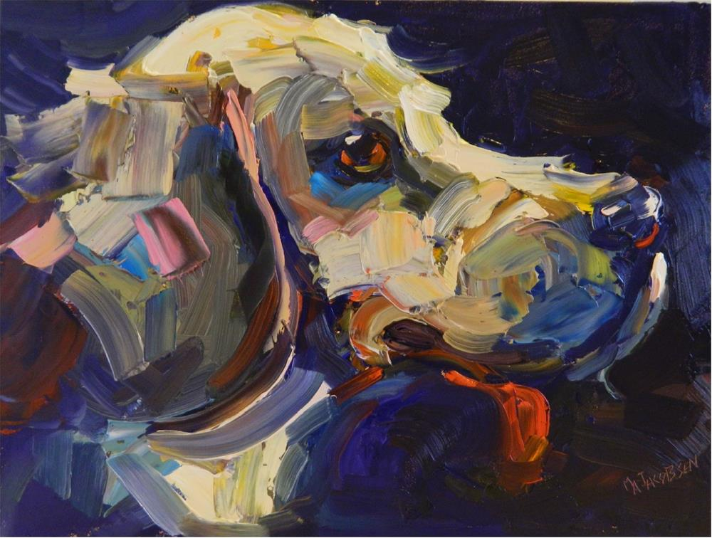 """""""Harry, 12x16, oil on board, paintings of dogs, hound dogs, palette knife paintings of dogs, dog po"""" original fine art by Maryanne Jacobsen"""