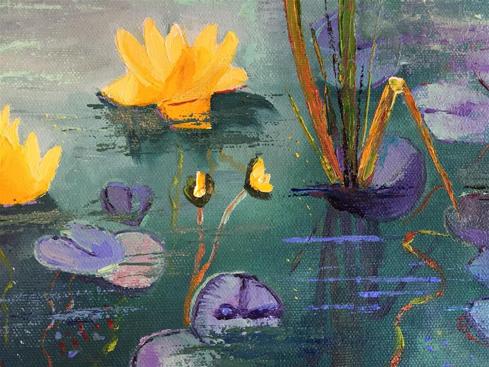 """Yellow Water Lilies"" original fine art by Rose Brenner"
