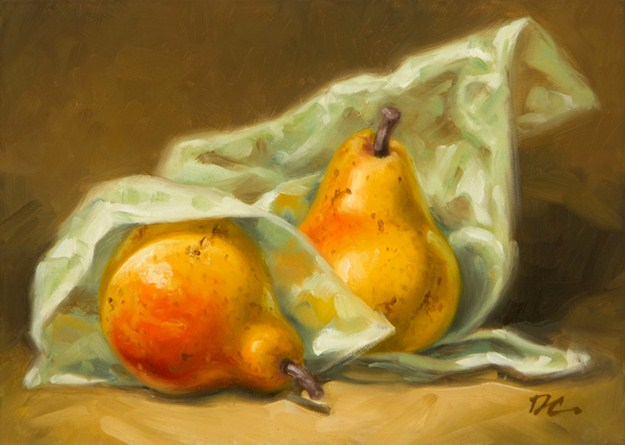 """""""Forelle Pears And Tissue Paper"""" original fine art by David Capalungan"""