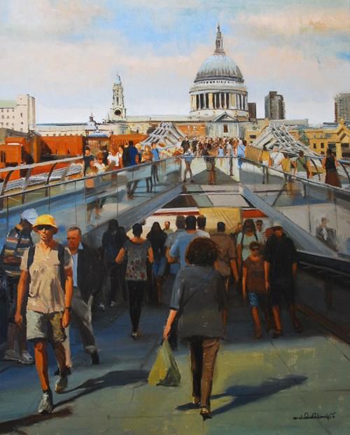 """St Pauls from Millennium Bridge, London"" original fine art by Adebanji Alade"