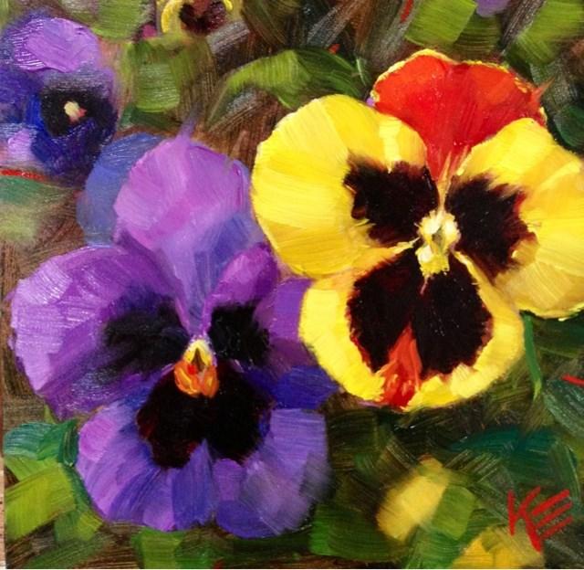 """""""Pansies III"""" original fine art by Krista Eaton"""