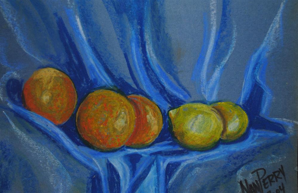 """Citrus on Drape"" original fine art by Nan Perry"