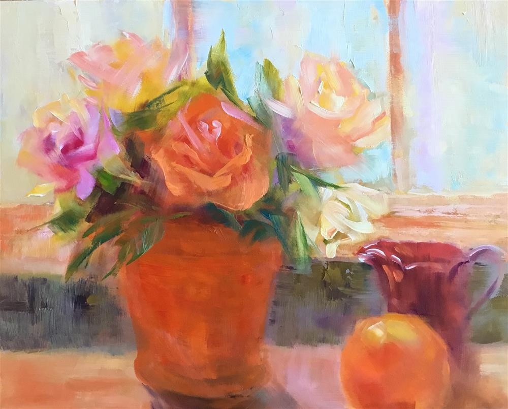 """Roses and Orange on the Windowsill"" original fine art by Charlotte Fitzgerald"