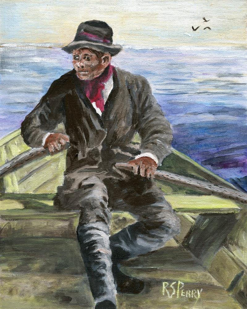 """South Carolina Gullah Oysterman "" original fine art by R. S. Perry"