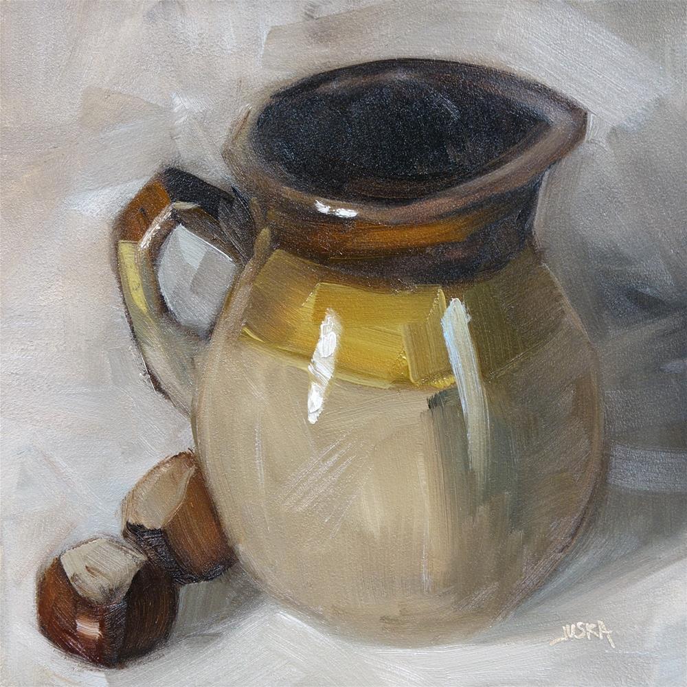 """Pitcher & Chestnuts (Still Life in Browns)"" original fine art by Elaine Juska Joseph"