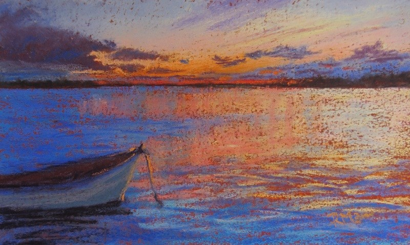"""Boat in the Sunset"" original fine art by Ruth Mann"