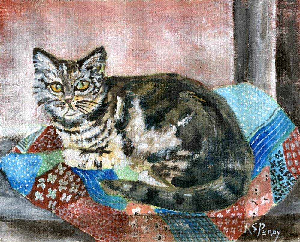 """""""Cat on Quilt"""" original fine art by R. S. Perry"""
