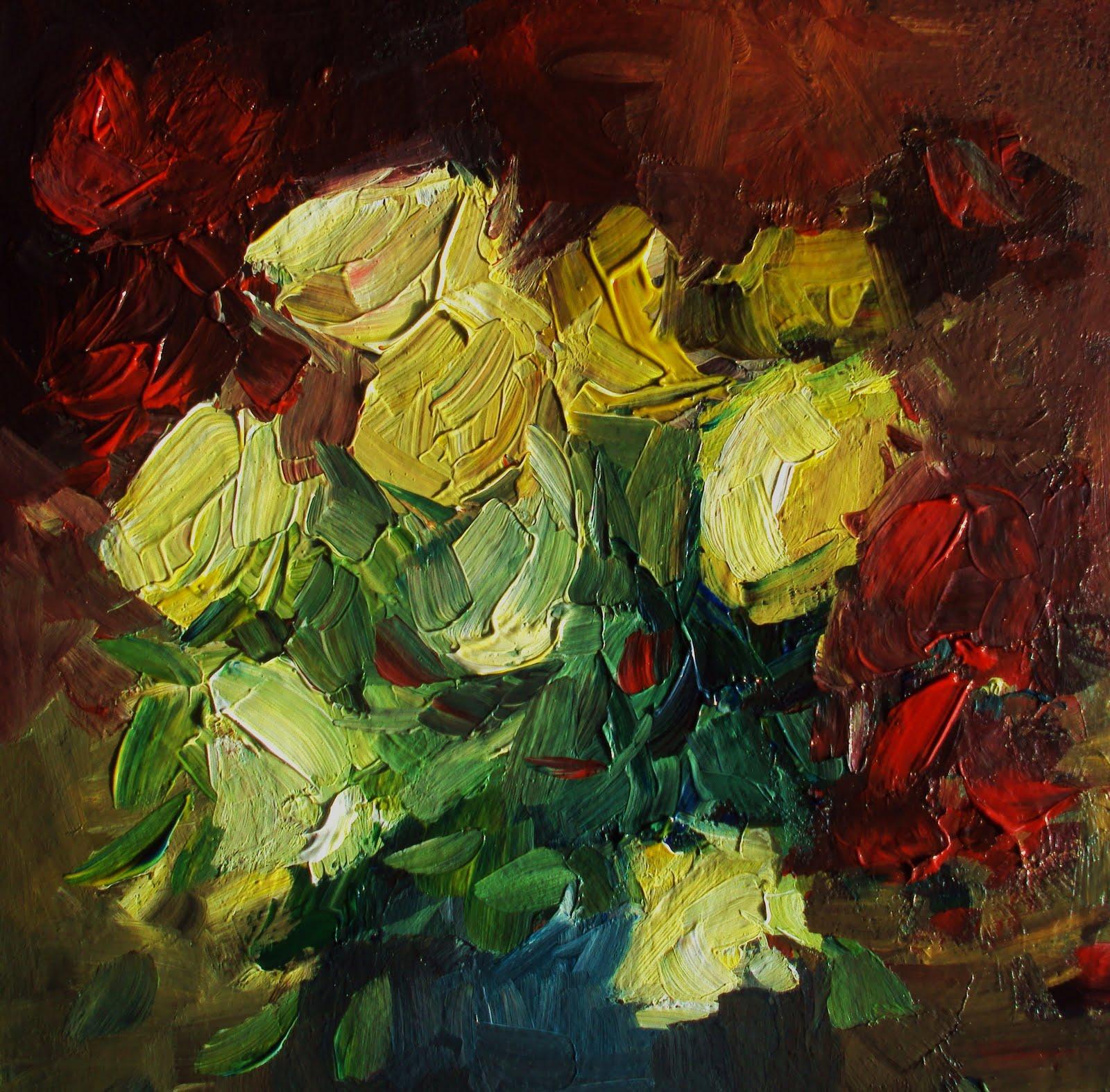 """yellow roses"" original fine art by Parastoo Ganjei"