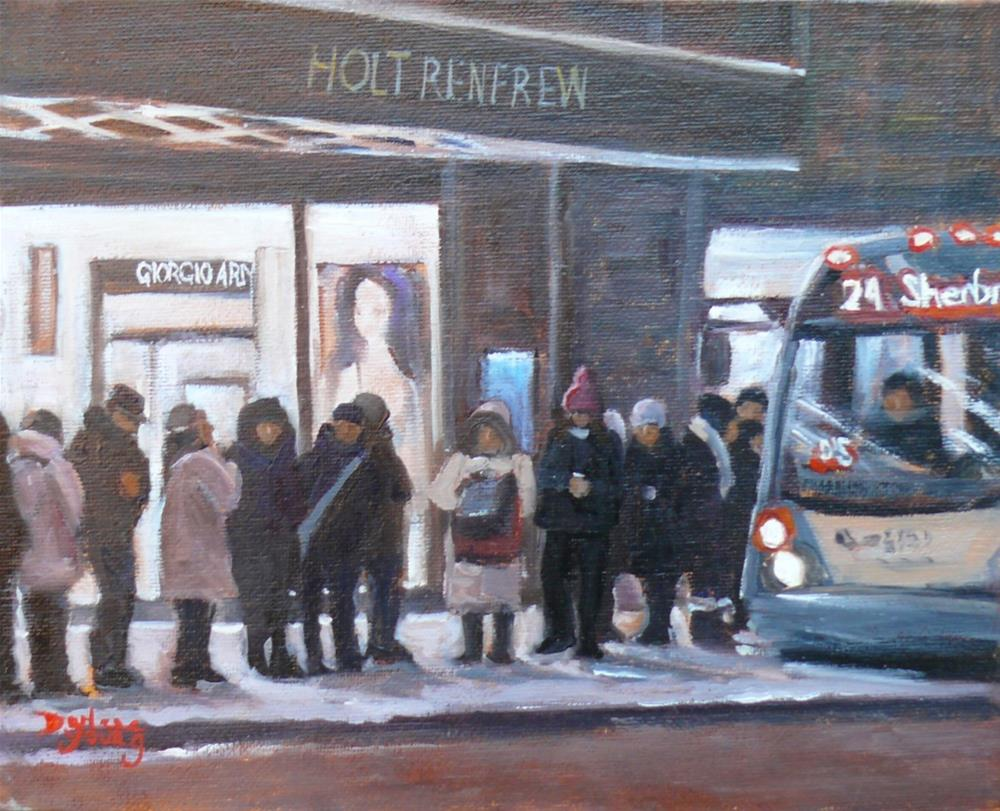 """""""Waiting for the 24, Montreal Night Scene"""" original fine art by Darlene Young"""