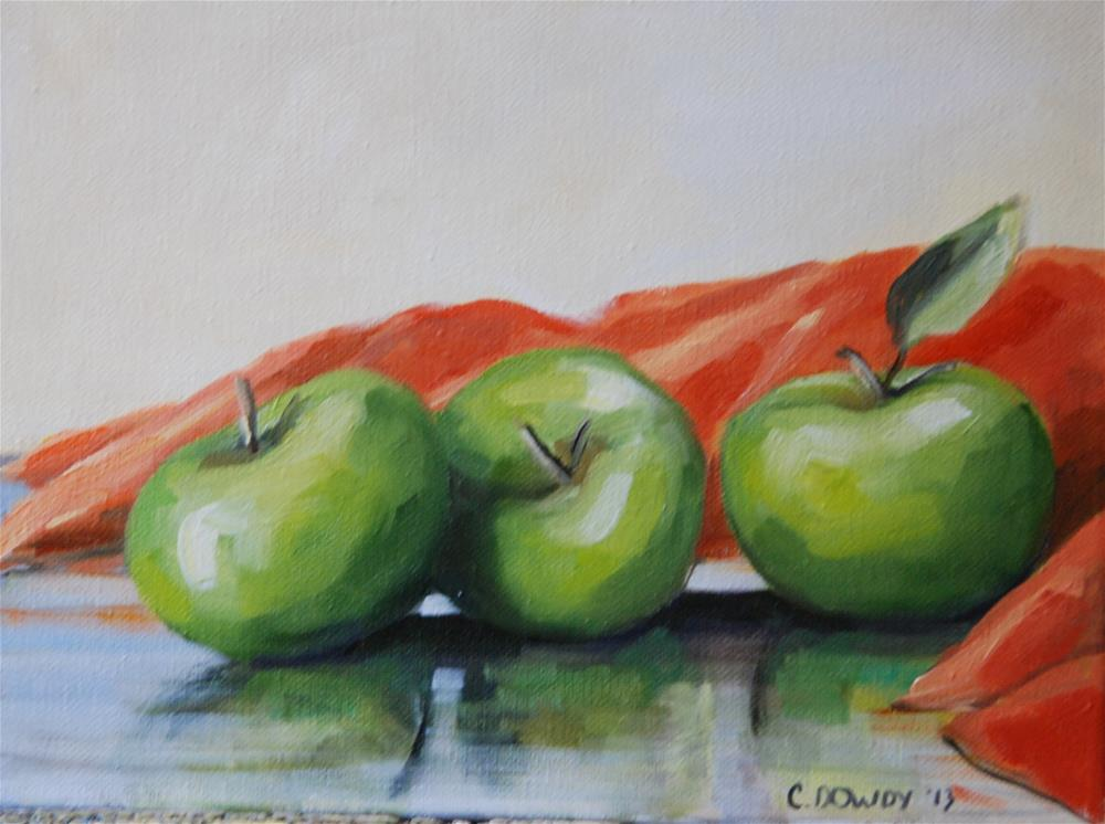 """""""Green Apples with Coral Cloth"""" original fine art by Christina Dowdy"""