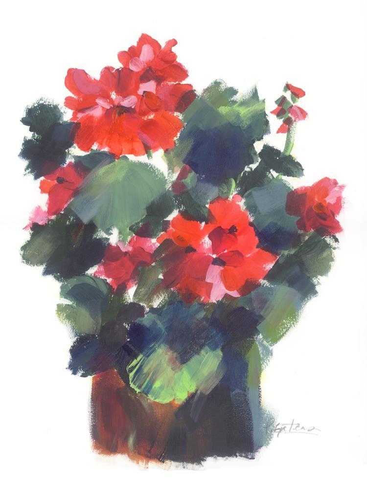 """Geranium Pot"" original fine art by Pamela Gatens"