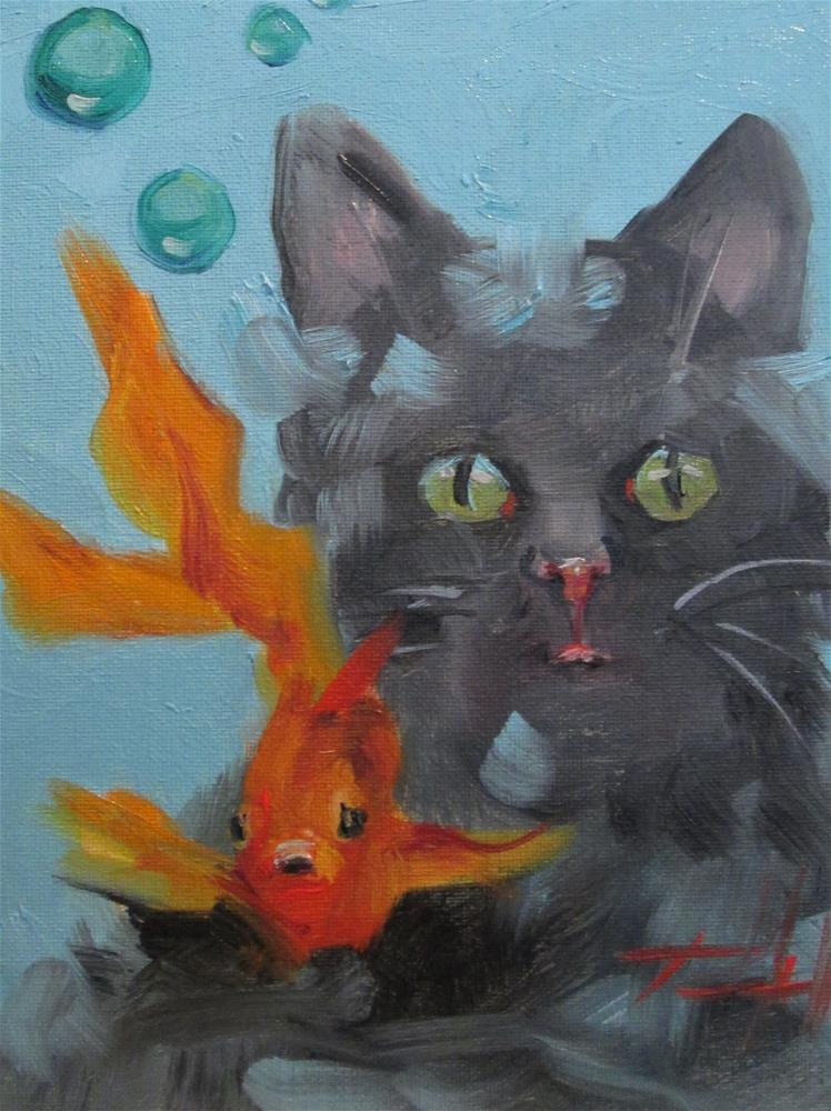 """""""Goldfish and Cat"""" original fine art by Delilah Smith"""