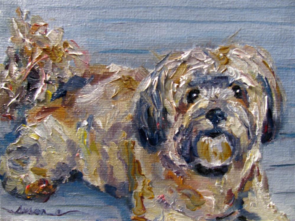 """Maddy... Green Leaves Porch Pup"" original fine art by Susan Elizabeth Jones"