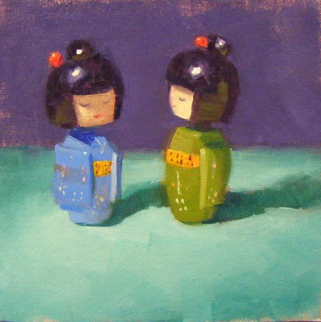 """""""CHITCHAT"""" original fine art by Helen Cooper"""