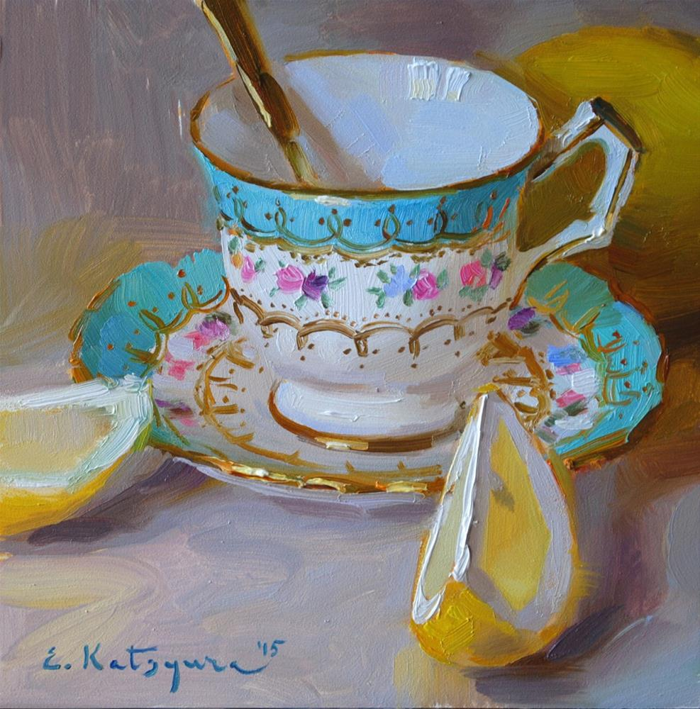 """Teacup and Sliced Lemon"" original fine art by Elena Katsyura"
