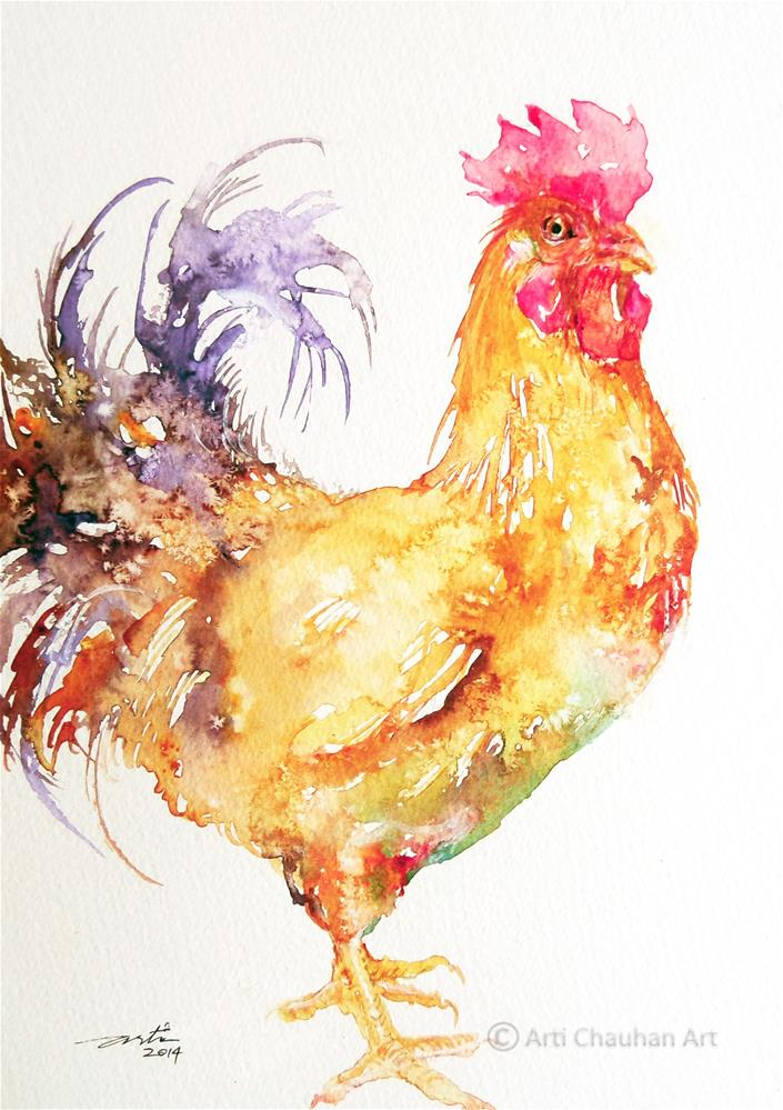 """""""Purple Tail Rooster"""" original fine art by Arti Chauhan"""