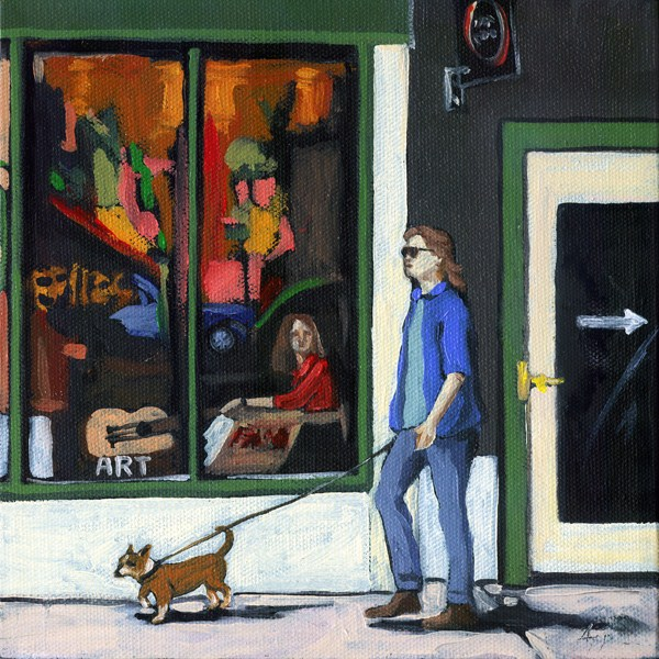 """""""Walking Tall - woman and dog city oil paintng by Linda Apple"""" original fine art by Linda Apple"""