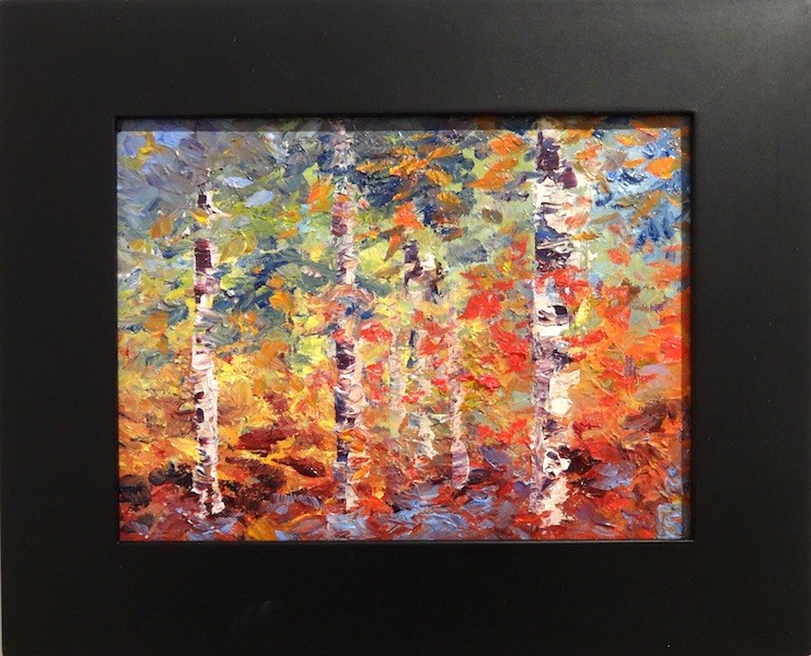 """4161 - Birch Forest - Black Frame"" original fine art by Sea Dean"