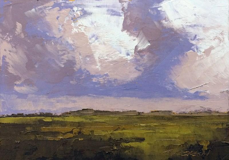 """Morning Rain Over The Marsh"" original fine art by Mary Gilkerson"