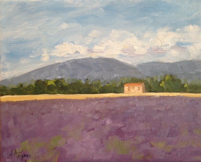 """Field of Lavender"" original fine art by Karen D'angeac Mihm"