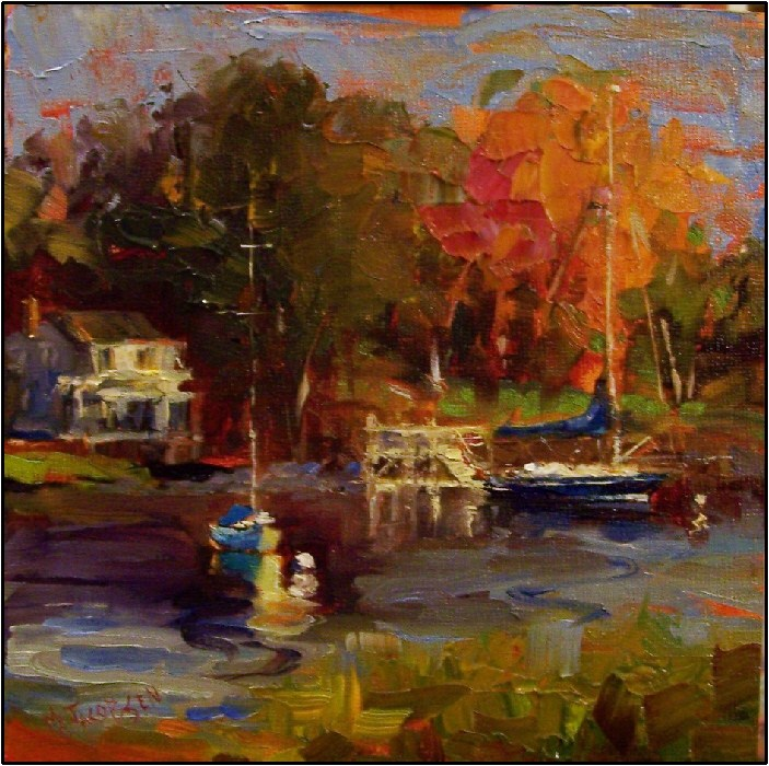 """""""Morning on the Kennebunk River, 8x8, oil on Ampersand board, Maine, boats, Kennebunkport, autumn i"""" original fine art by Maryanne Jacobsen"""