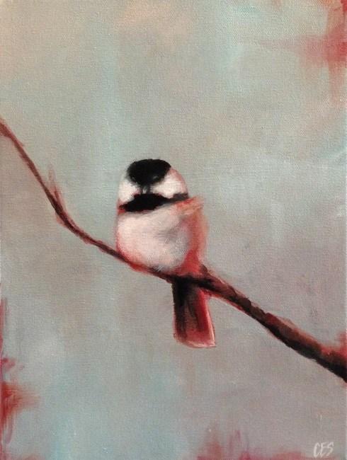 """""""Winterberry Chickadee"""" original fine art by ~ces~ Christine E. S. Code"""