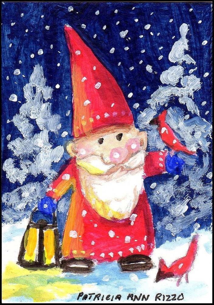 """Christmas Garden Gnome with Cardinals"" original fine art by Patricia Ann Rizzo"