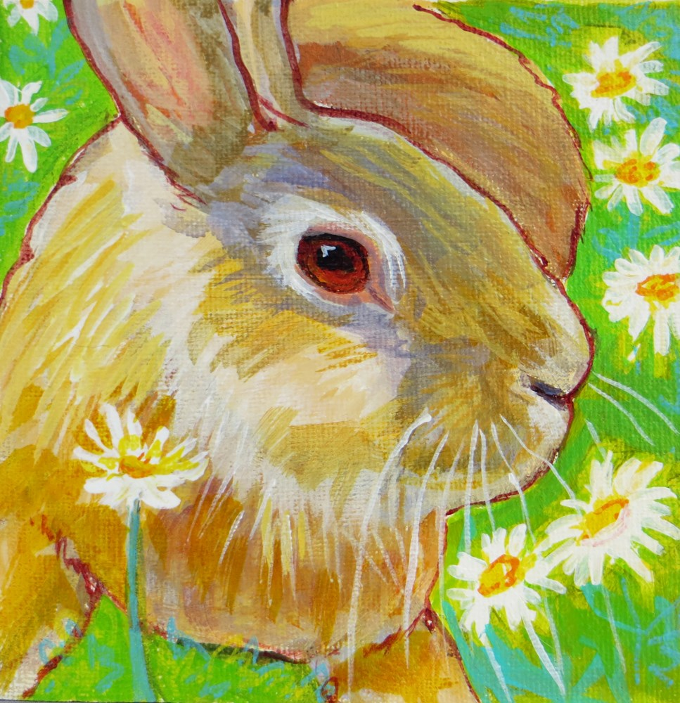 """Daisy Bunny"" original fine art by Rhett Regina Owings"