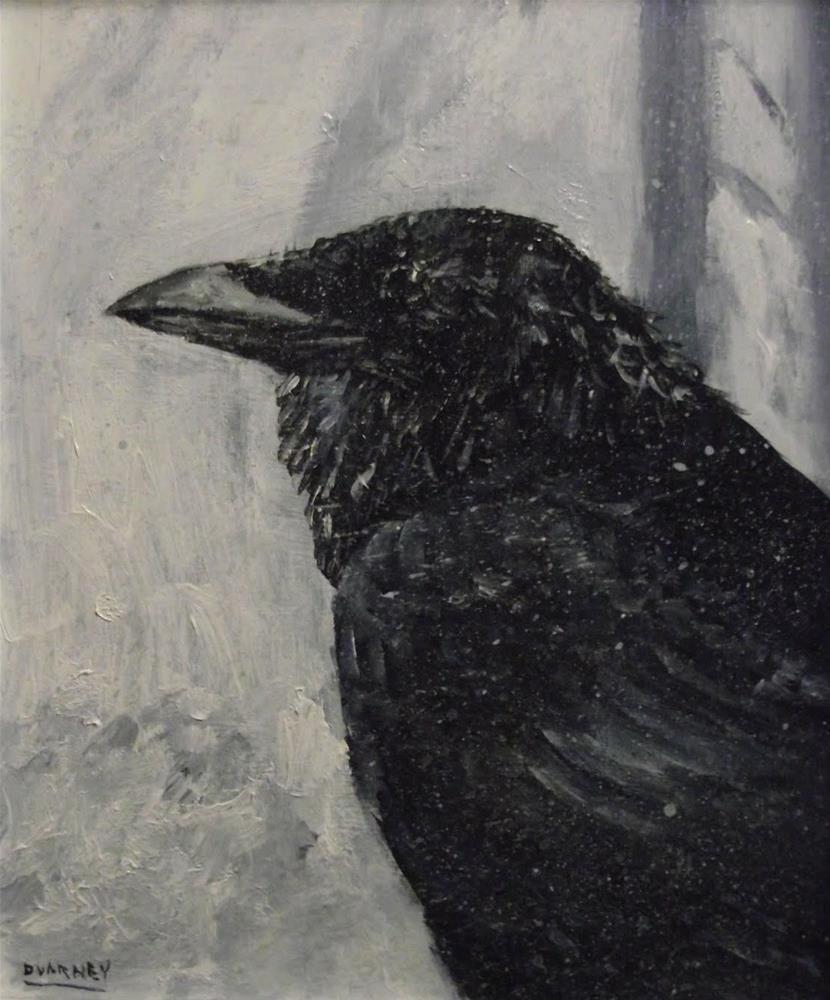 """Raven in snow IV"" original fine art by Daniel Varney"