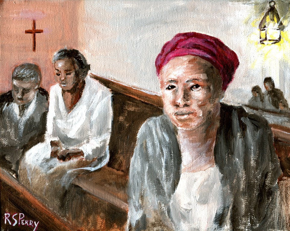 """Maum Celie in Church "" original fine art by R. S. Perry"