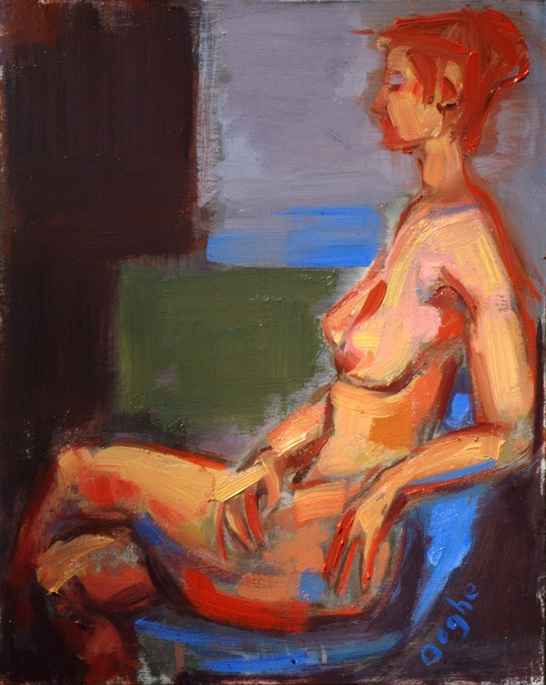 """""""Nude in Blue Chair"""" original fine art by Angela Ooghe"""