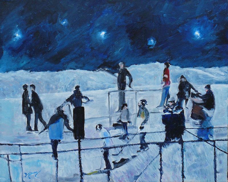 """Hockey Night All Stars"" original fine art by Darlene Young"