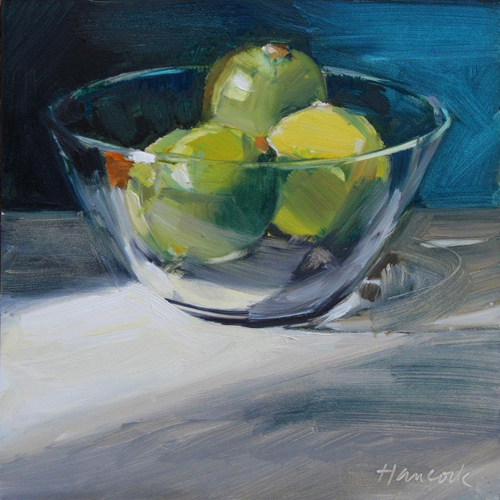 """""""Glass Bowl with Limes in Light and Shadow"""" original fine art by Gretchen Hancock"""