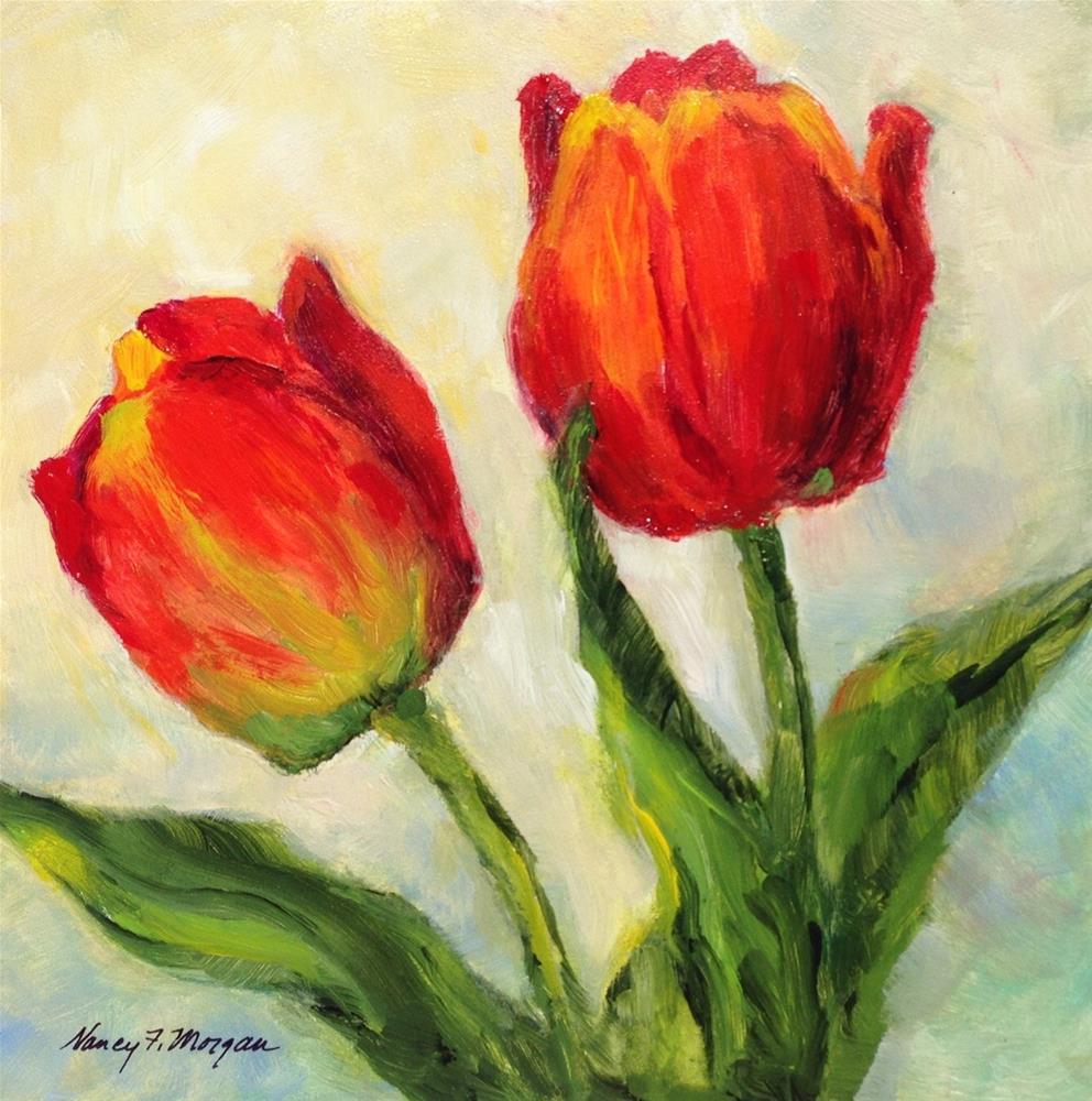 """Tulip Twosome"" original fine art by Nancy F. Morgan"