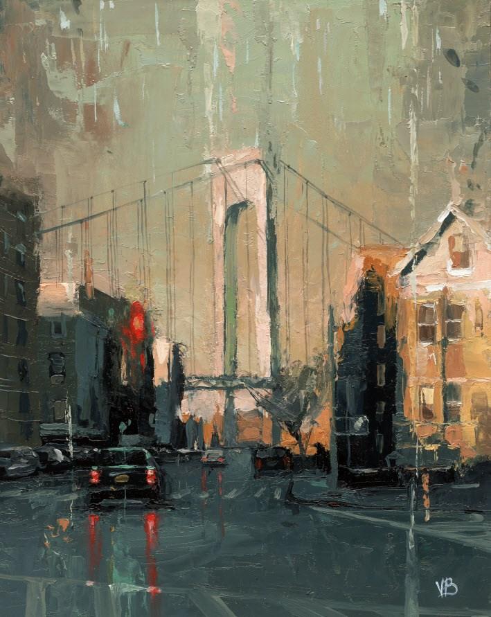 """Verrazano Bridge -II"" original fine art by Victor Bauer"