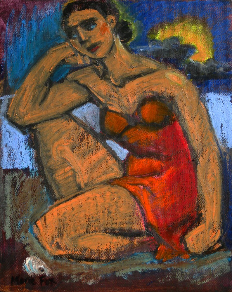 """""""The Shell, figurative oil painting, figuration, contemporary figure painter, woman, beach"""" original fine art by Marie Fox"""