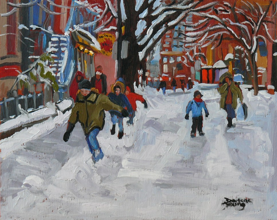 """""""588 Kids on the Plateau Mont-Royal"""" original fine art by Darlene Young"""