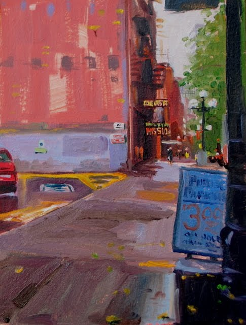 """Mission  oil cityscape, Seattle, Washington"" original fine art by Robin Weiss"