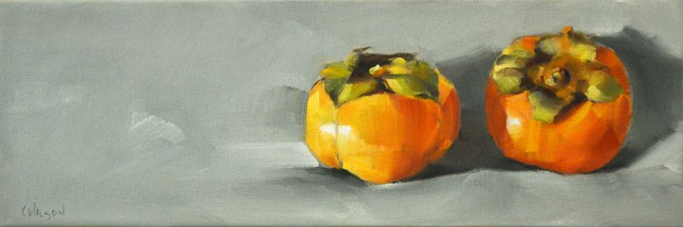 """Persimmons on Gray"" original fine art by Cheryl Wilson"