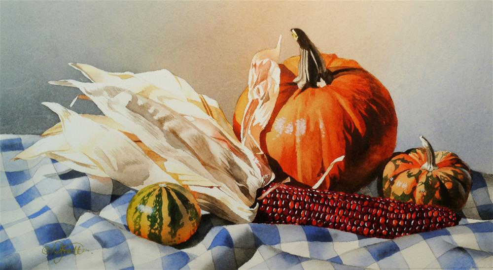 """""""Still Life with Indian Corn"""" original fine art by Jacqueline Gnott, TWSA, WHS"""